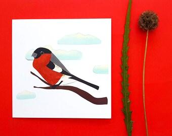 Bullfinch blank greetings card, print, collage