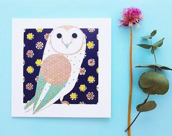 Barn owl blank greetings card, print, collage