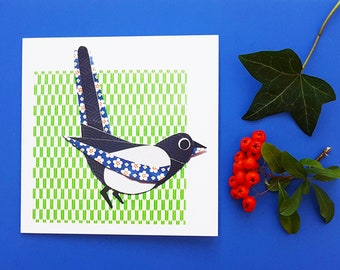 Magpie blank greetings card, print, collage