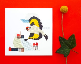Flying Goldfinch blank greetings card, print, collage