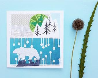Polar bear greetings card, blank card, winter scene, print