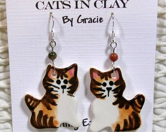 Brown Tabby Cat Shaped French Wire Earrings Handmade In Kiln Fired Clay by Grace Smith