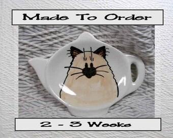 Himalayan Siamese Cat Tea Bag Holder Handmade Ceramic by Grace M. Smith