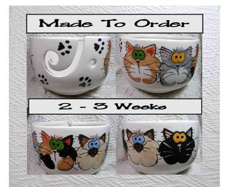 Made To Order A Gaggle Of 5 Goofy Cats On Yarn Bowl Earthenware Clay by Grace M Smith