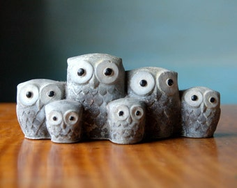Owl Choir.  Vintage Stone Birdie Family Brigade. Carved Figurine Sculpture