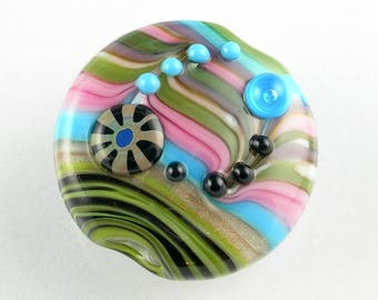 Beadbijoux Striped Handmade Lampwork Glass Focal Bead SRA Multicolor Green Pink Aqua Purple