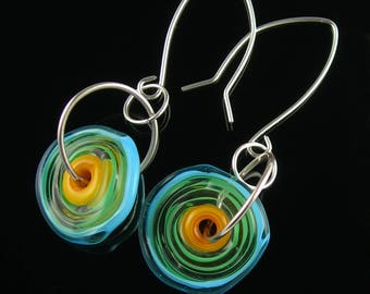 Sterling Silver Long Dangle Lampwork Glass Flower Disk Earrings in Yellow Orange Green Turquoise Blue