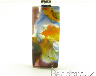 Orange Burgundy Purple Blue White Abstract Fused Glass Pendant Necklace Focal Bead