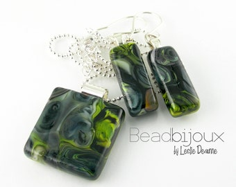 Grey Blue Black Lime Green White Abstract Fused Glass Pendant Necklace Earrings Set with Adjustable Silver Ball Chain