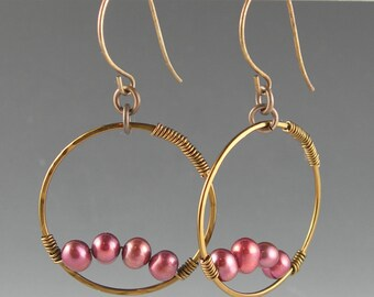Boho Gypsy Bronze Cranberry Pink Pearl Long Dangle Hoop Earrings with Vintaj Antiqued Brass