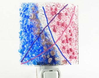 Lavender Turquoise Cobalt Blue Purple Pink Fused Glass Night Light