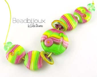 Beadbijoux Handmade Lampwork Glass Bead Set Loose Beads SRA in Bright Colorful Hot Pink Yellow and Lime Green