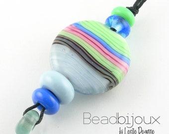 Beadbijoux Handmade Lampwork Glass Bead Set Loose Beads SRA in Pink Blue Mint Green