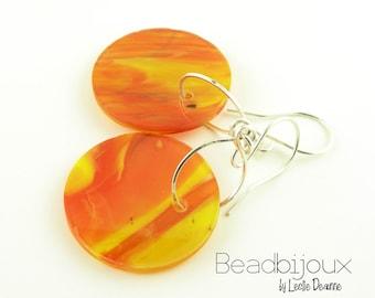 Sterling Silver Long Dangle Lampwork Fused Glass Disk Circle Earrings in Orange Yellow