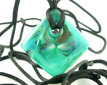 Teal Abstract Statement Fused Glass Pendant Adjustable Necklace
