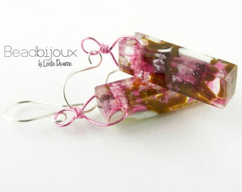 Sterling Silver Long Dangle Fused Glass Rectangle Cube Earrings in Pink and Brown