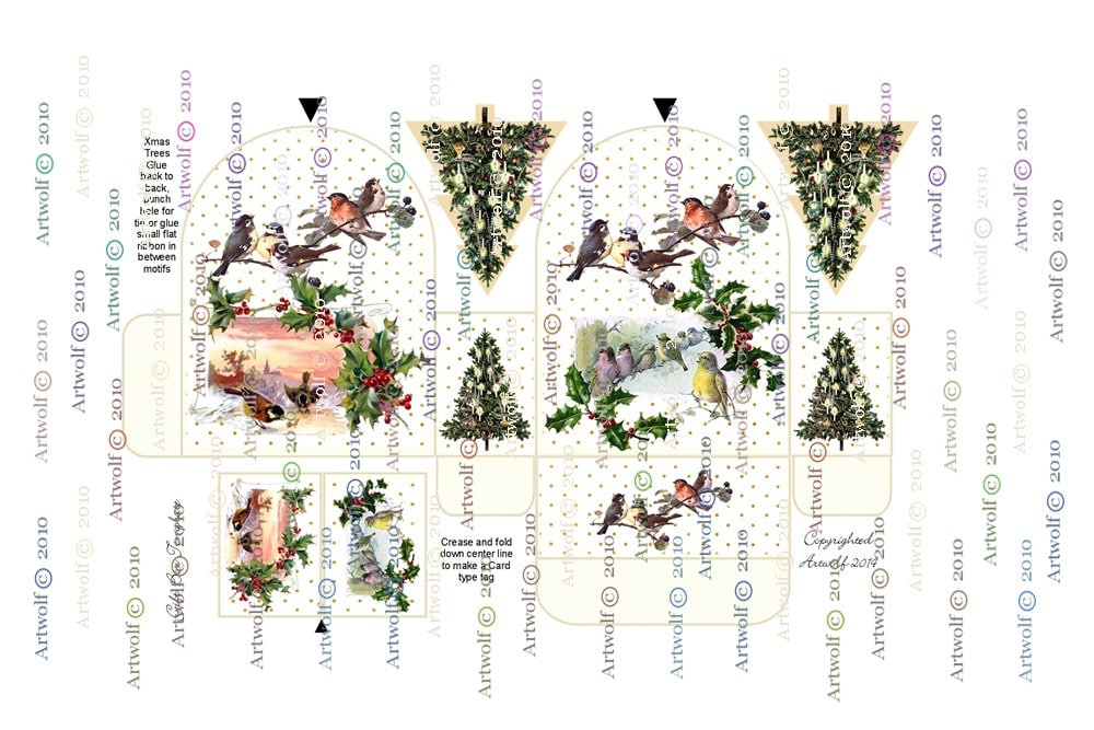 Christmas Digital Download Birds Robin Easy Assembly Holly Gift Box Gift Party Favour Tags Printable Template Vintage