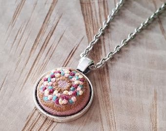 Donut Embroidery Pendant Necklace, Sprinkled Donut Pendant, Embroidered Donut With Sprinkles, Hand Embroidered, Gift For Sweet Tooth