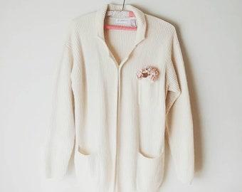 Cream Wool/Angora Ribbed Cardigan, POCKETS! Vintage Ivory Sweater Jumper, Cozy Womens Medium