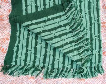 """Vintage Knit Afghan, green on green, diamond design, 64"""" x 62"""" +fringe"""