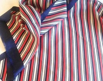 Marchesa di Gresy scarf, red white blue striped, hand rolled edges, cut fringe, RARE