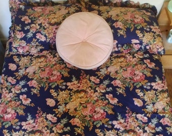 Vintage Floral Duvet Cover +Pillow Shams, Bold Navy Blue Pink Roses, Heavy Cotton Ralph Lauren? Victorian Stripes, RUFFLES Double/Twin Duvet