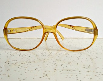 bc9c2da77df Vintage 70s 80s Christian Dior eye glasses   large 70s eyeglasses   clear  caramel amber   Germany 51-16