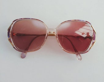 Glam 80s eyeglasses, large round Sovereign, butterfly clear pink purple plastic, womens medium glasses