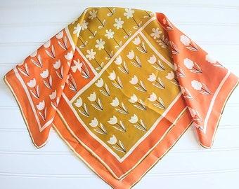 Vera Neumann Silk Scarf, Fall Colors orange mustard yellow ivory mod florals square