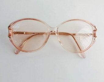 80s vintage eyeglasses / Crystal Pink by Marchon/ large round eyeglasses / clear plastic, womens eyeglasses sunglasses