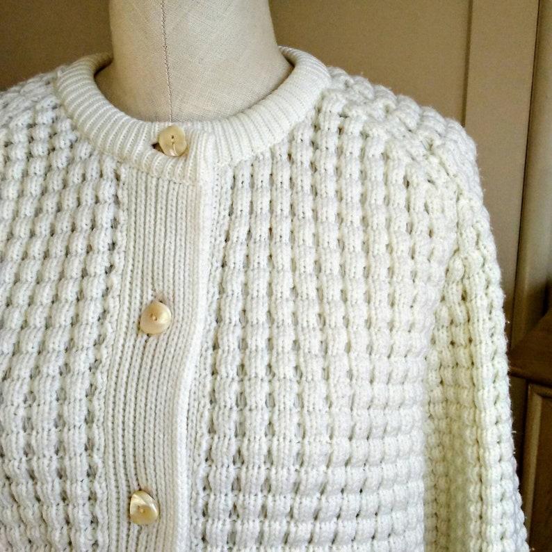 5b3a093e81a41c L 60s popcorn cardigan 60s sweater vintage ivory cardigan