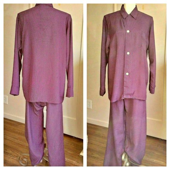 1940s lounge Pajamas SET, cold rayon burgundy polk
