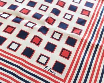 "Mod Echo scarf, silk 50s 60s striped scarf, red white blue, bold geometric scarf, square 27"""