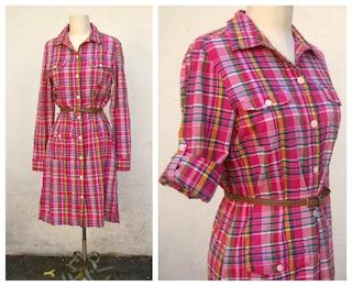 Red plaid shirt dress  LL Bean dress  long sleeve button up, cotton, midi, womens small medium