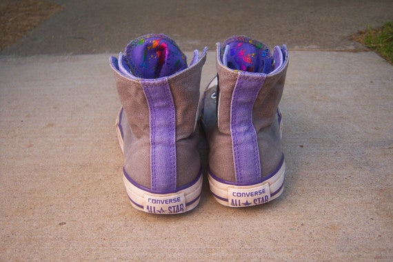 90s Converse sneakers RAINBOW metallic happy faces Gray purple Chuck high tops tennis shoes Kids 3 (womens 5)