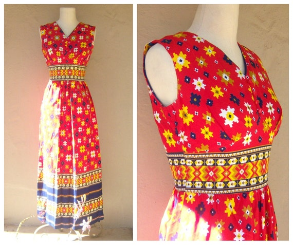 70s floral maxi dress / red yellow navy dress / bo