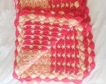 """Vintage PINK crochet afghan, Super cute, clean, cozy, 60"""" x 72"""""""
