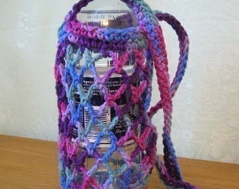 Crochet Pattern PDF for Water Bottle Carrier Holder Tote      EASY - permission to sell what you  make