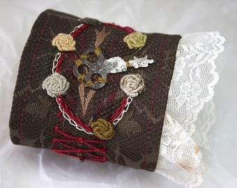 Fabric Textile Bracelet Steampunk Hand Embroidered Wrist Cuff Lace and Roses