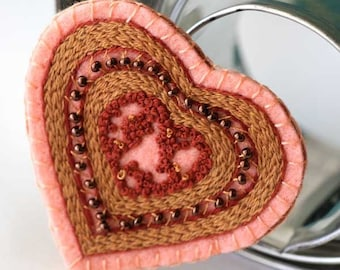 Beaded Heart Textile Fabric Brooch Hand Embroidery Red pink Copper