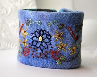 Wrist Cuff Bracelet Jacobean Hand Embroidered Pomegranate Flowers