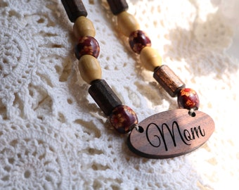 Wood Necklace Jewelry Non Allergenic Beaded For Fall Autumn Engraved Mom Personalized Bolivian Rosewood