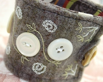 Button Folk Art Cuff Hand Embroidered with Vintage Buttons