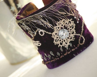 Purple velvet cuff. Hand embroidered mixed media bracelet. Victorian fantasy renaissance textile wrist cuff. Idea for mom wife Mother's Day.