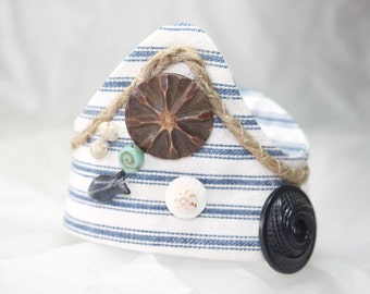 Wrist Fabric Cuff Bracelet Blue Ticking Textile Nautical Seashore Jewelry