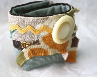 Womens Accessories More Wrist Cuff Maize and Blue Scrappy Abstract Textile Beaded Vintage Button
