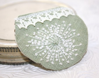 Cute hand embroidered mint brooch. Queen Annes Lace Embroidery. Gift for her mom grandmother sister wife. Mothers day birthday present.