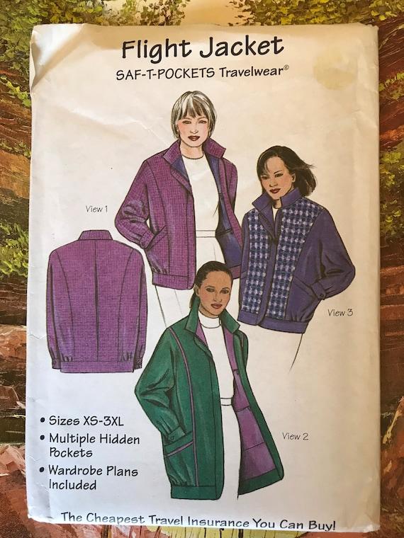 SAF-T POCKETS Travelwear OP0064 Factory Folded Uncut Jacket Pattern Jacket Pattern W SAF-T Pockets