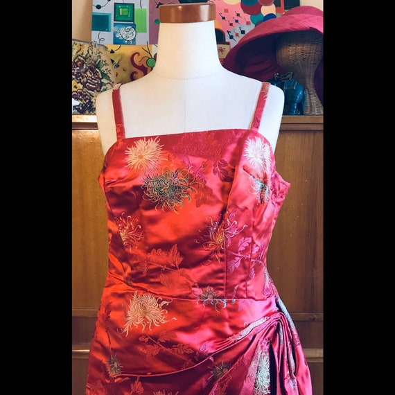 Vintage 50s Sour Cherry Red Wiggle Dress Chinoiser