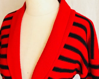 Fantastic 1980s Christian Dior Striped Boatman Cardigan Black Red and Fabulous Timeless Chic Fashion